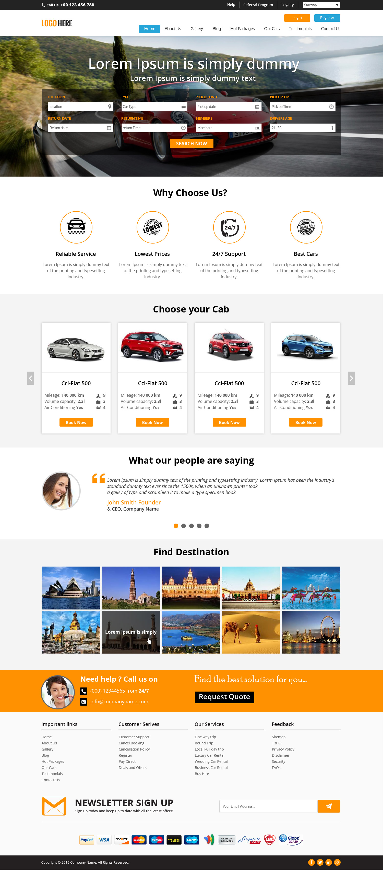 Cab booking website template bootstrap grid layout