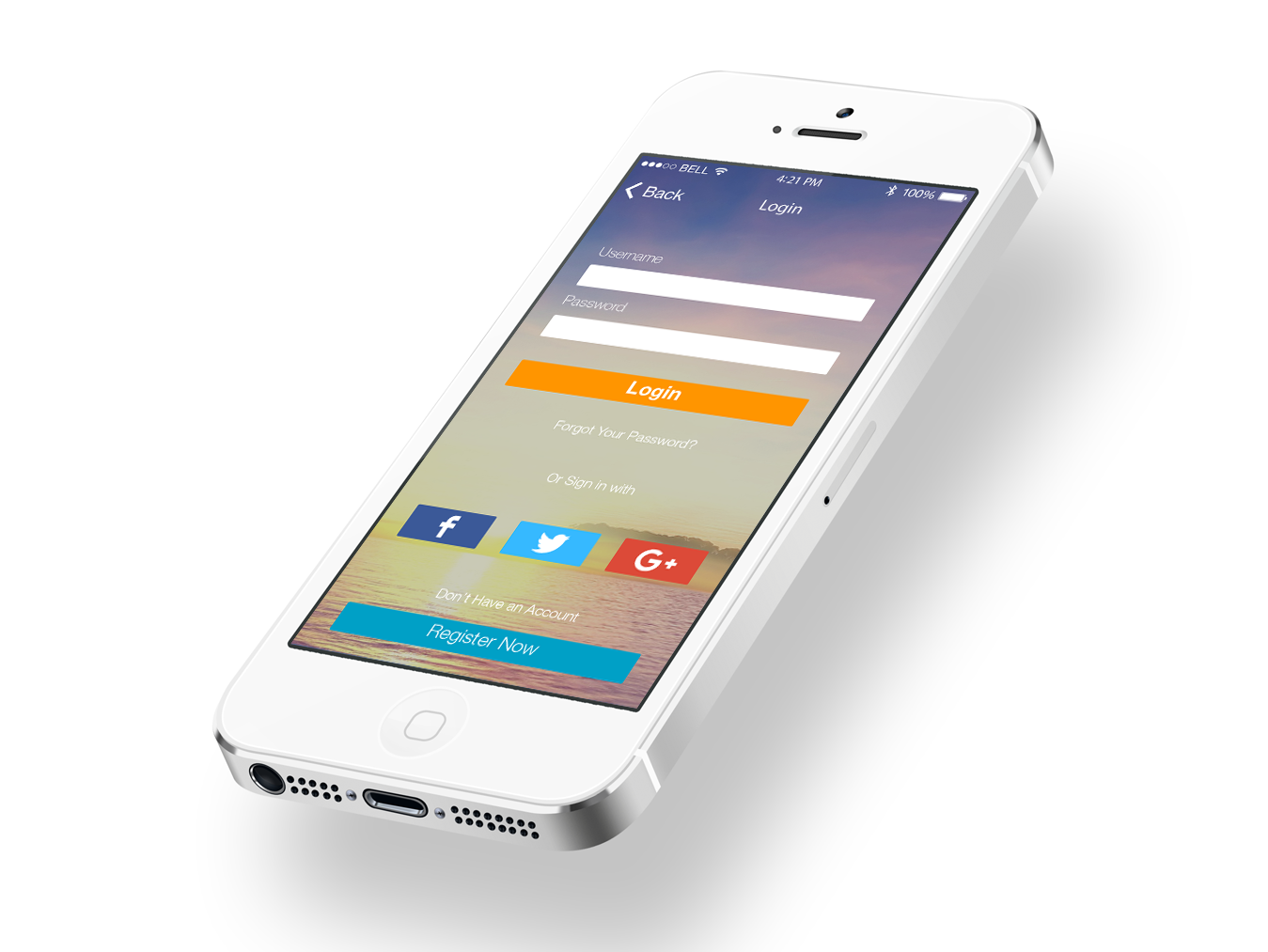 free iOS 7 Login Screen PSD Design