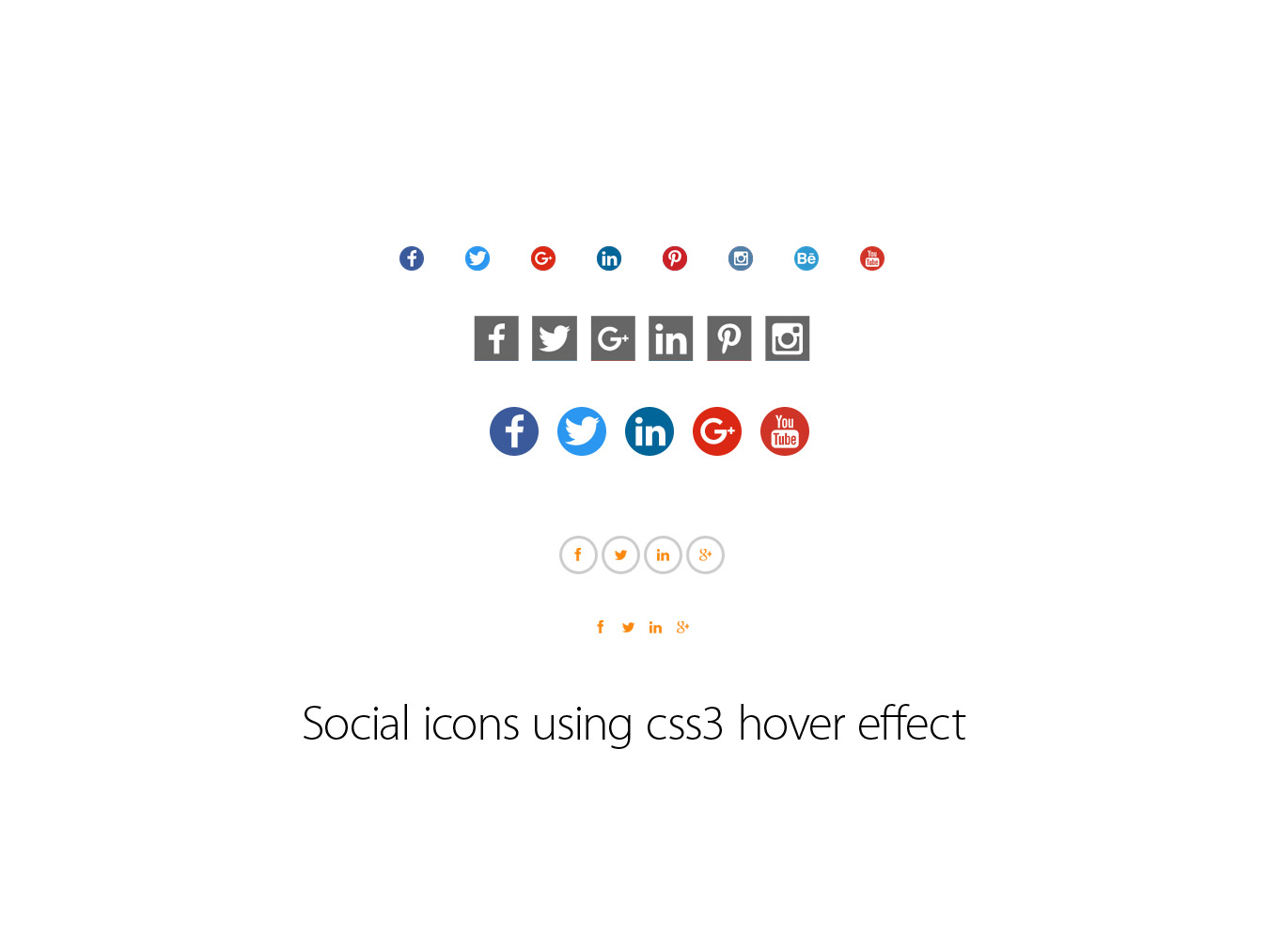 Social icons using css3 hover effect