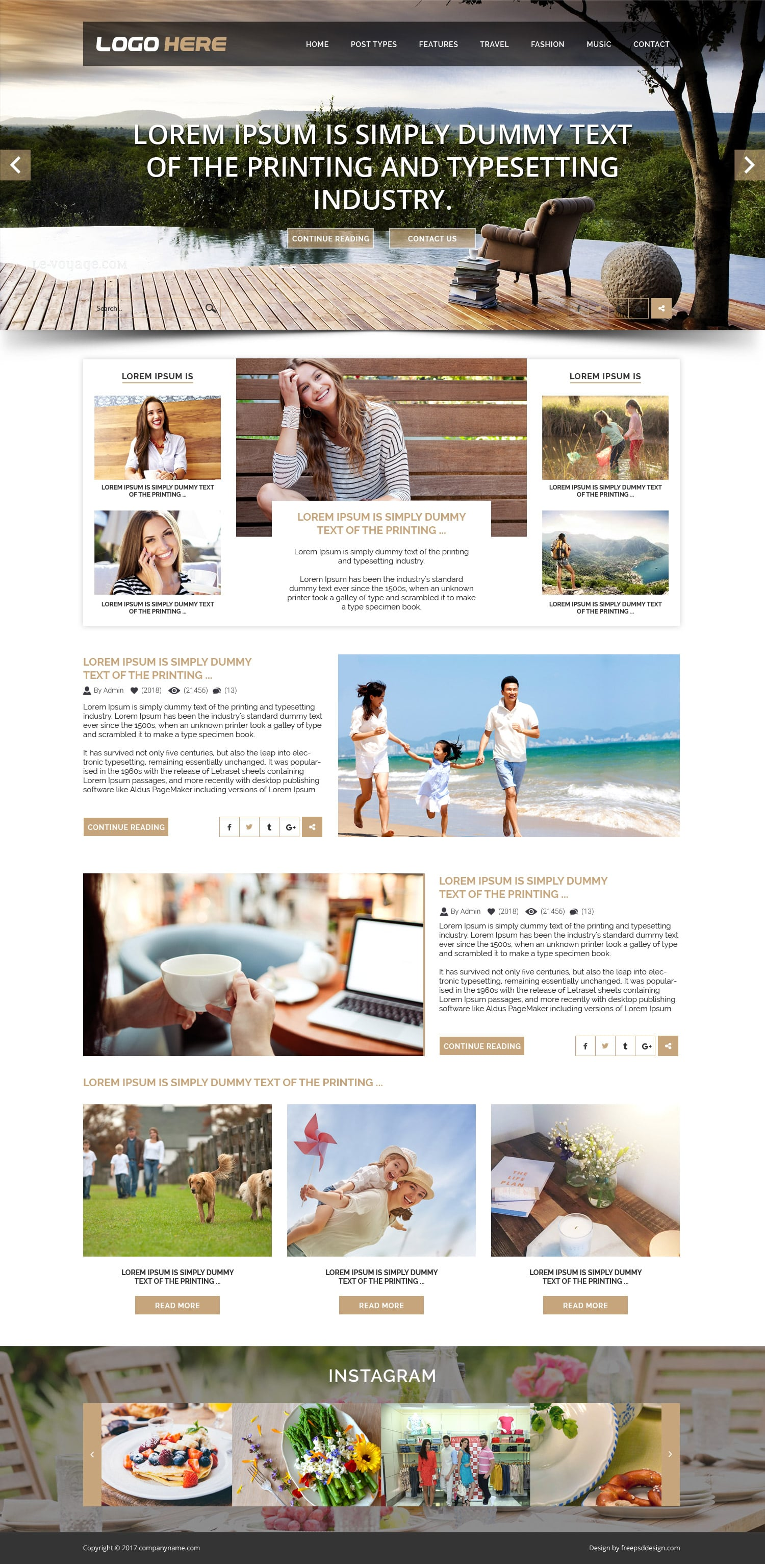 Blog website psd template