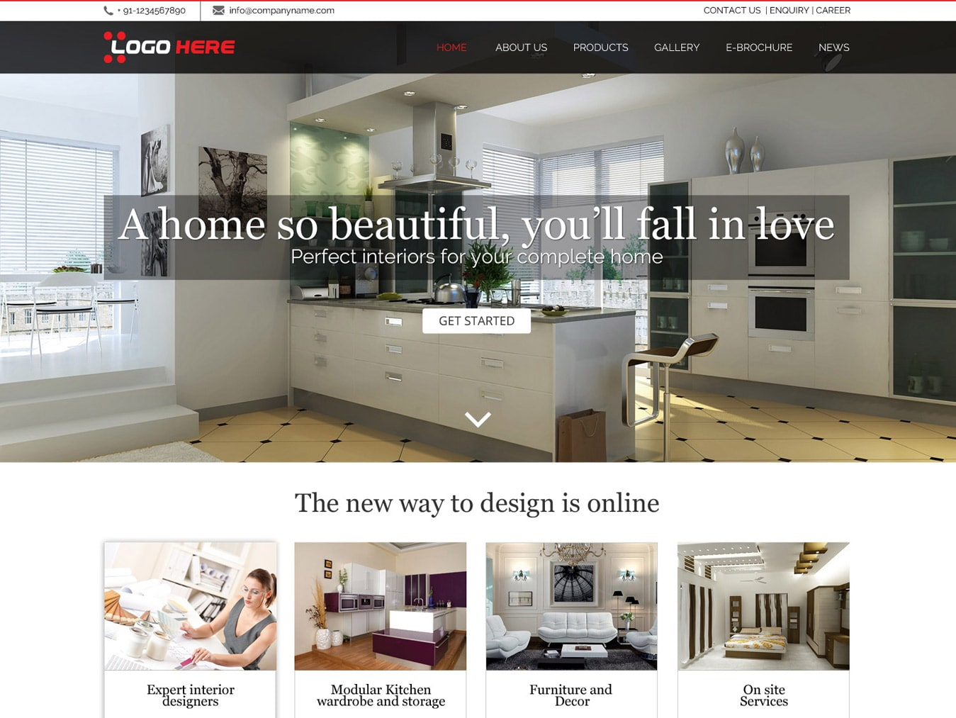 Interior website design template free psd design for Online interior design software free download