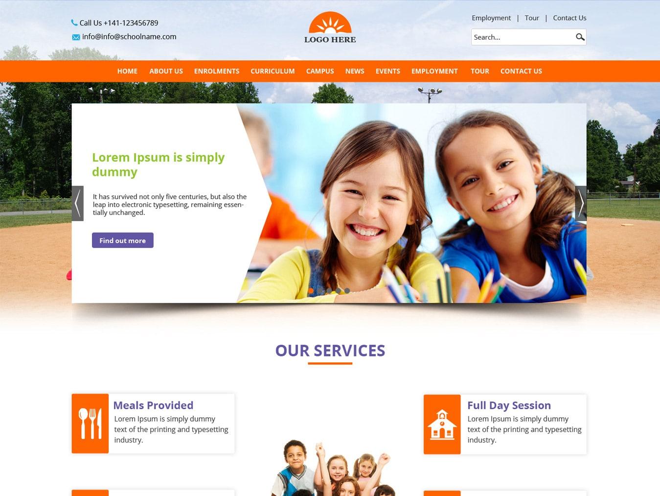 website templates free download - school website template psd design free psd design