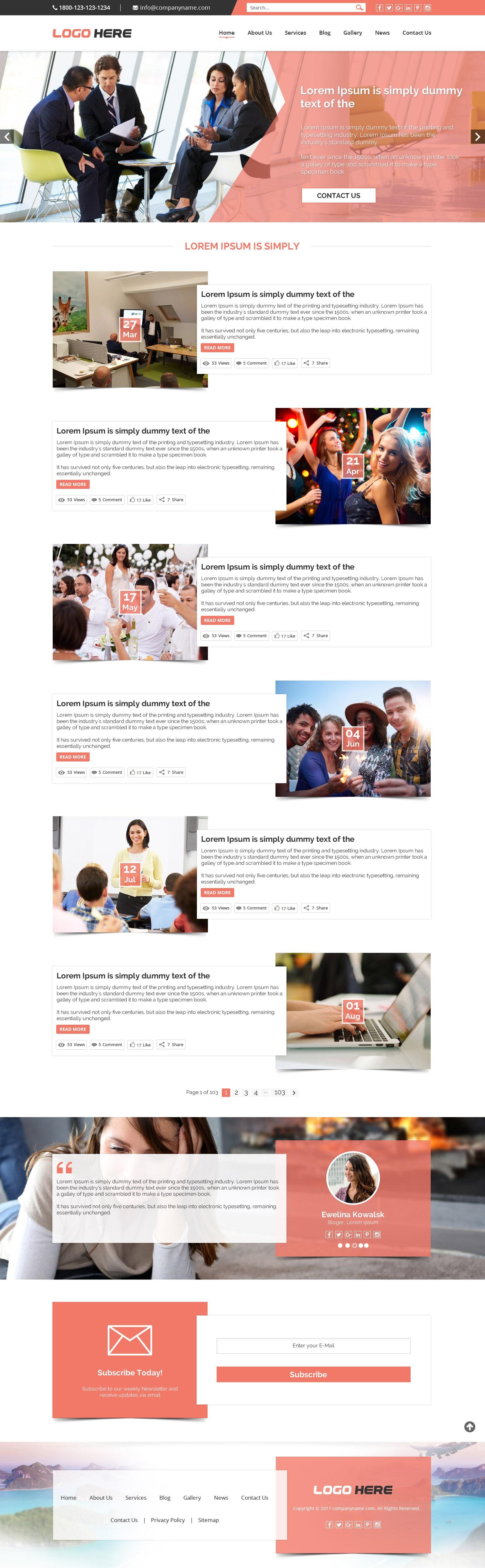Creative blog website template design