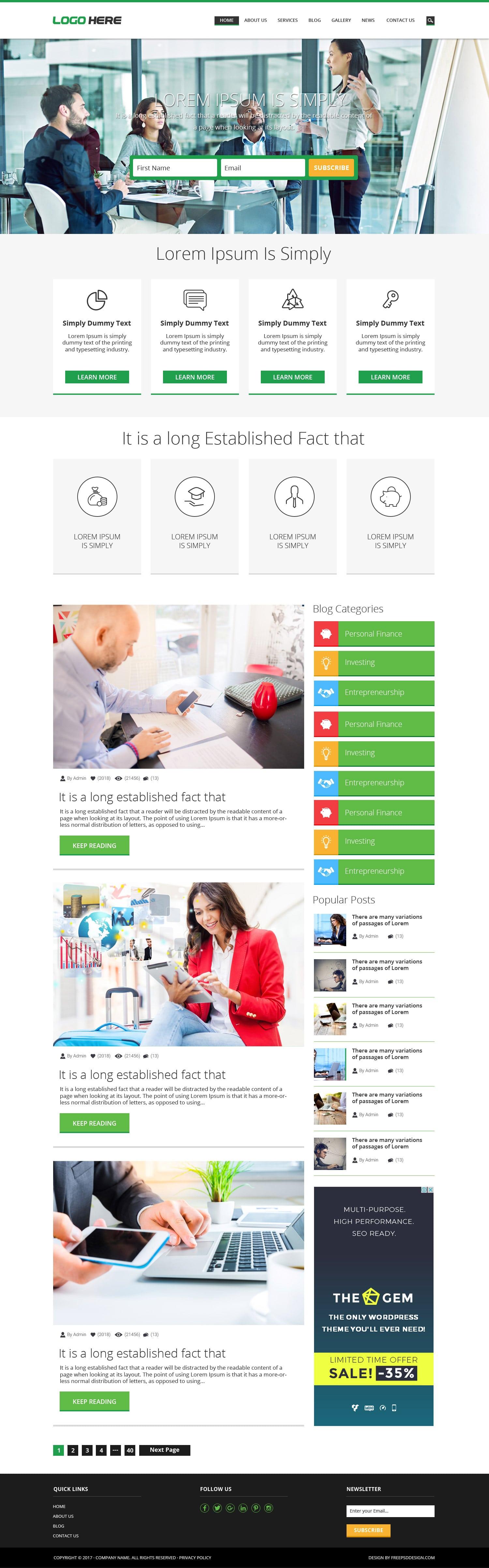 Blog website PSD designs