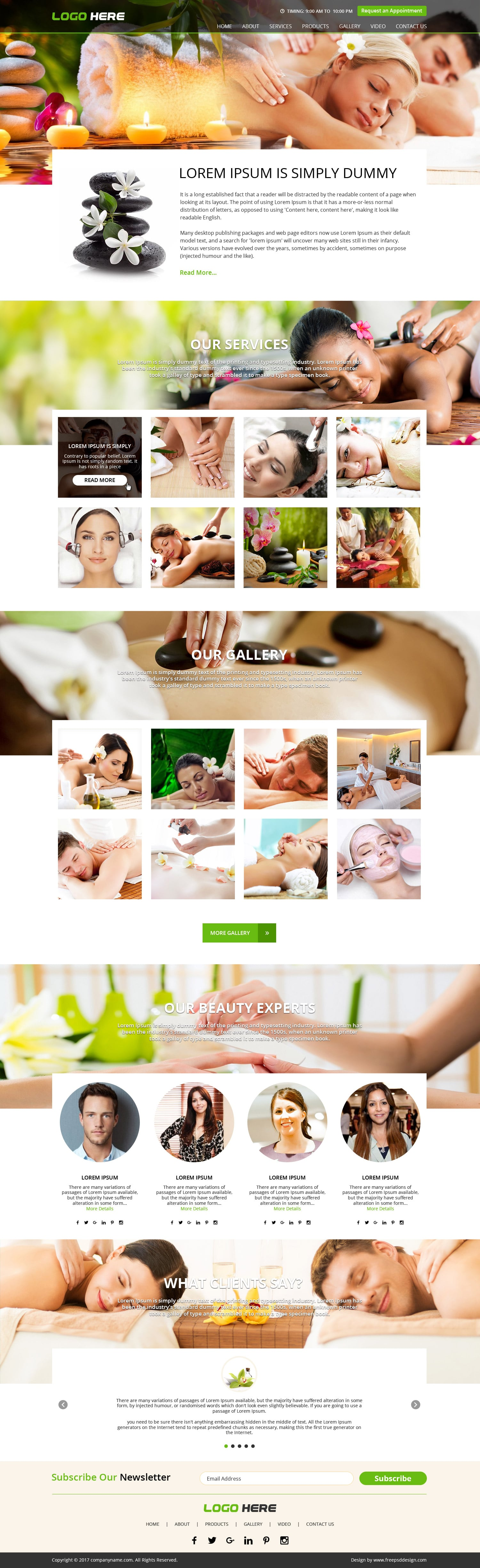 Natural Spa Saloon Website Design PSD Template