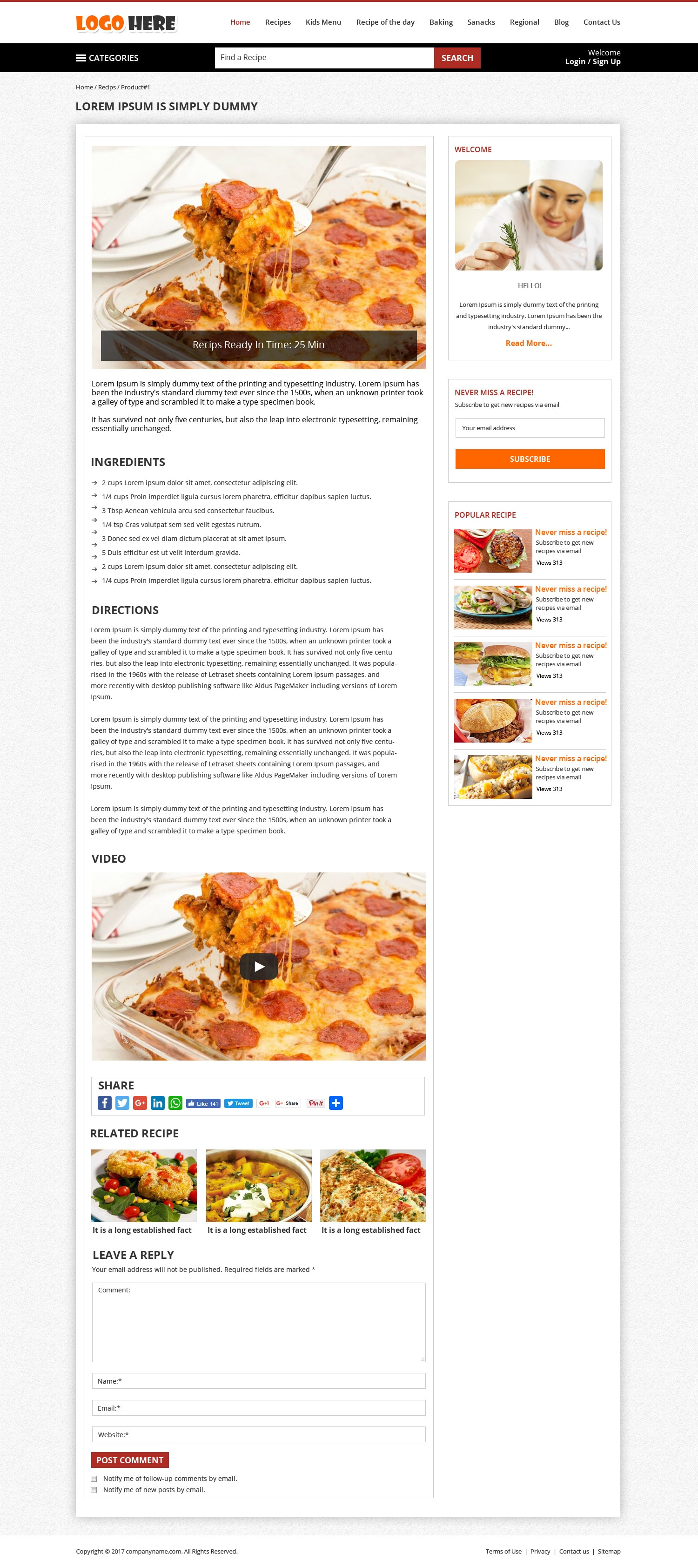 Free Food Blog Design