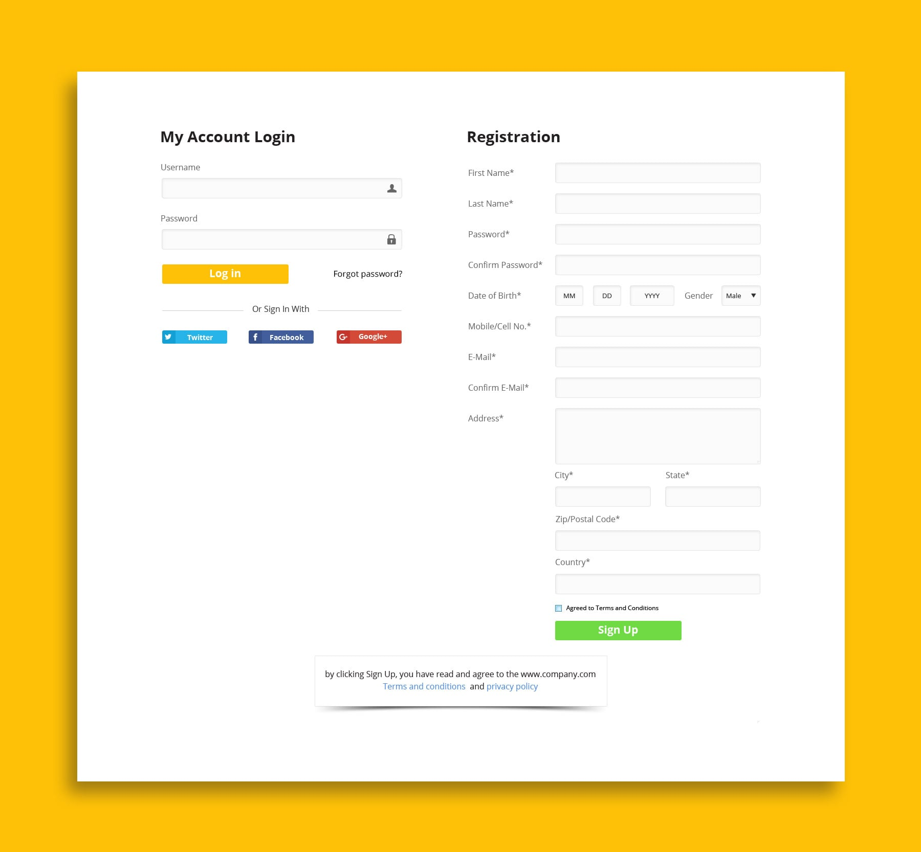 Web site login and registration form