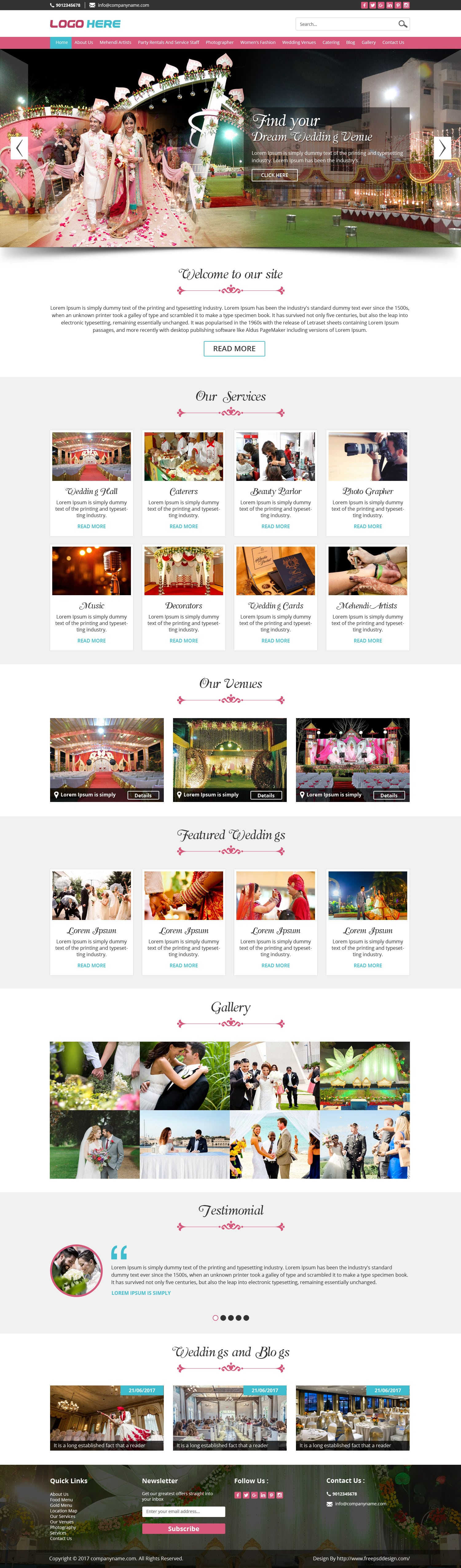 Wedding planner and Event Organizer Design PSD Template