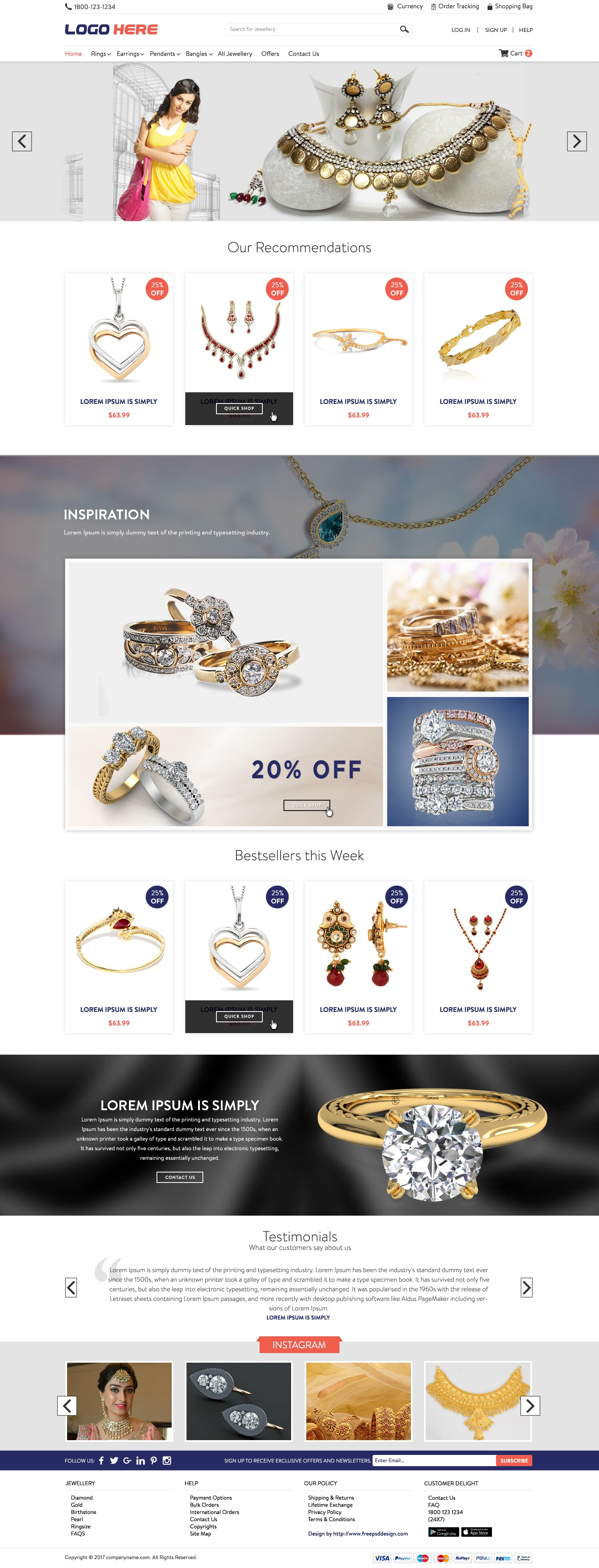 Online Jewelry Store PSD design