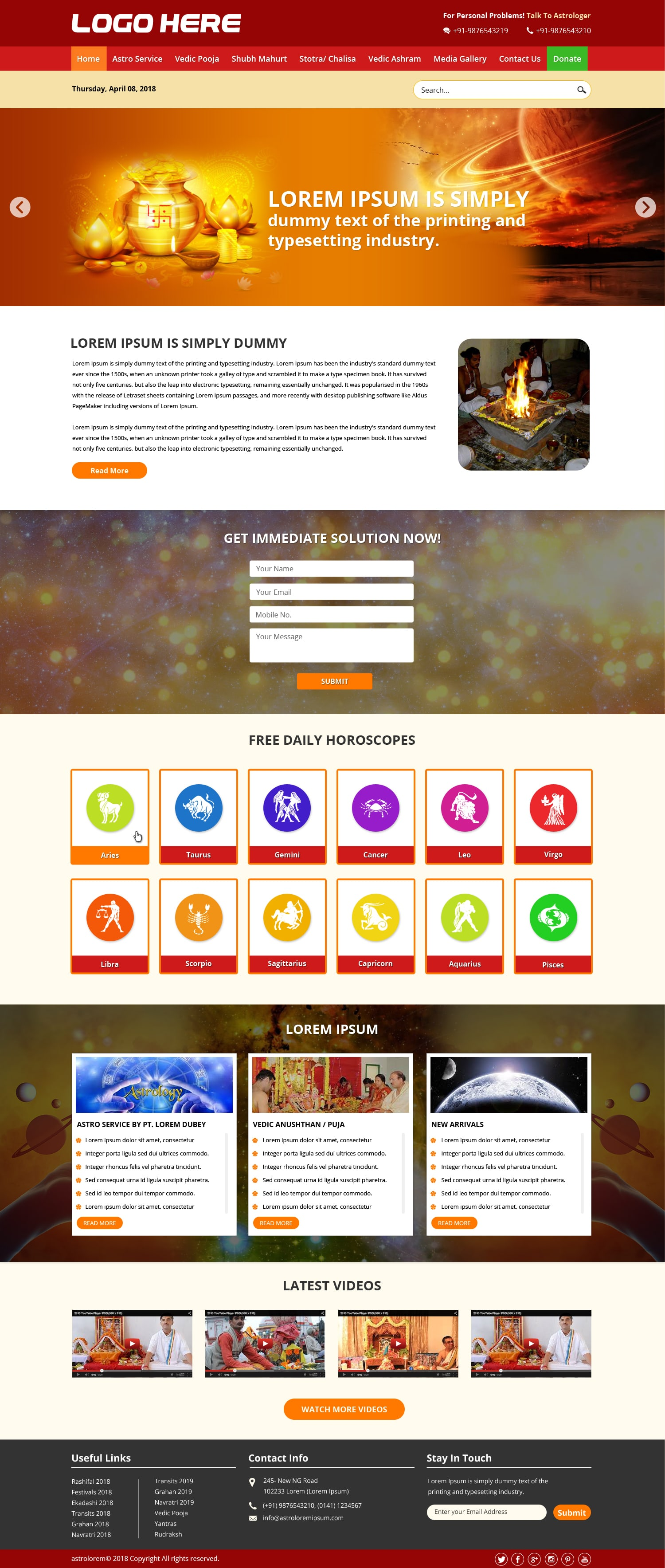Astrology website template design