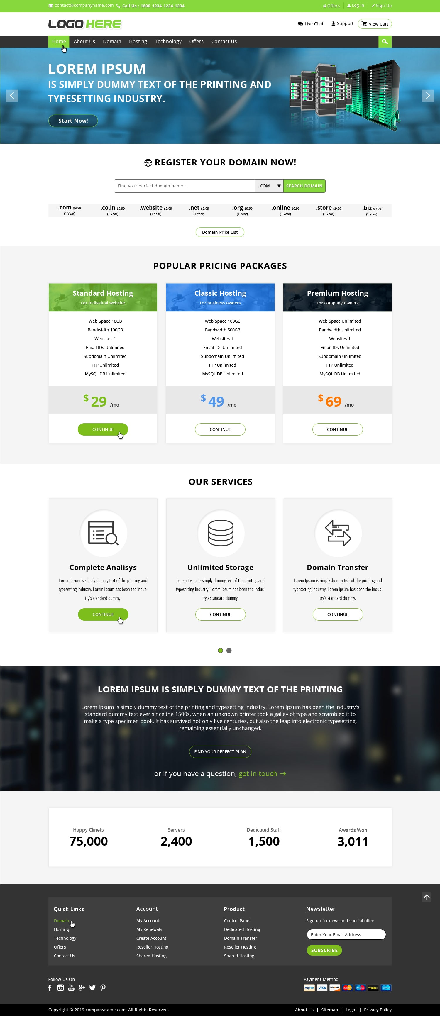Hosting website templates free download