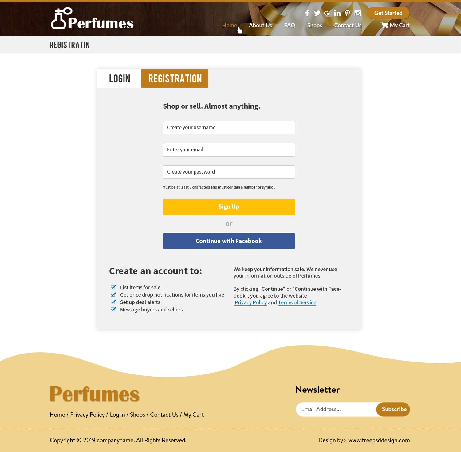 Perfume eCommerce Websites and Login/Registration page