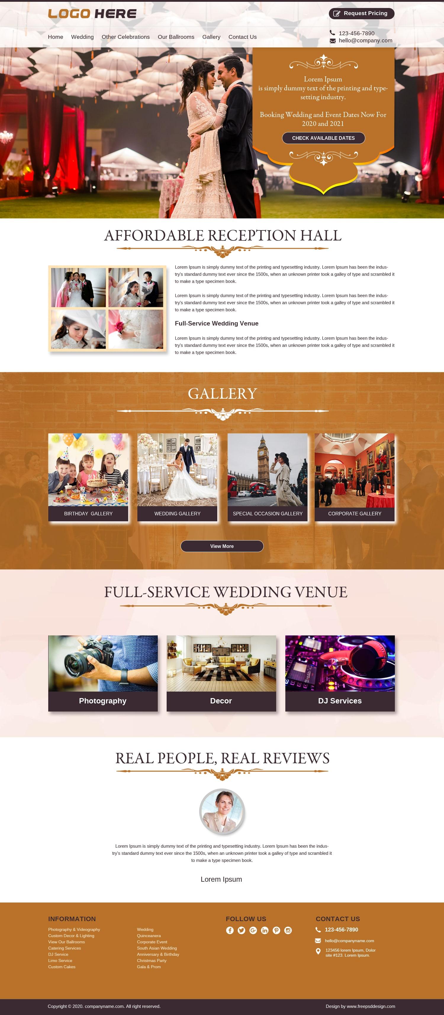 Reception venue planners & event organizer website template