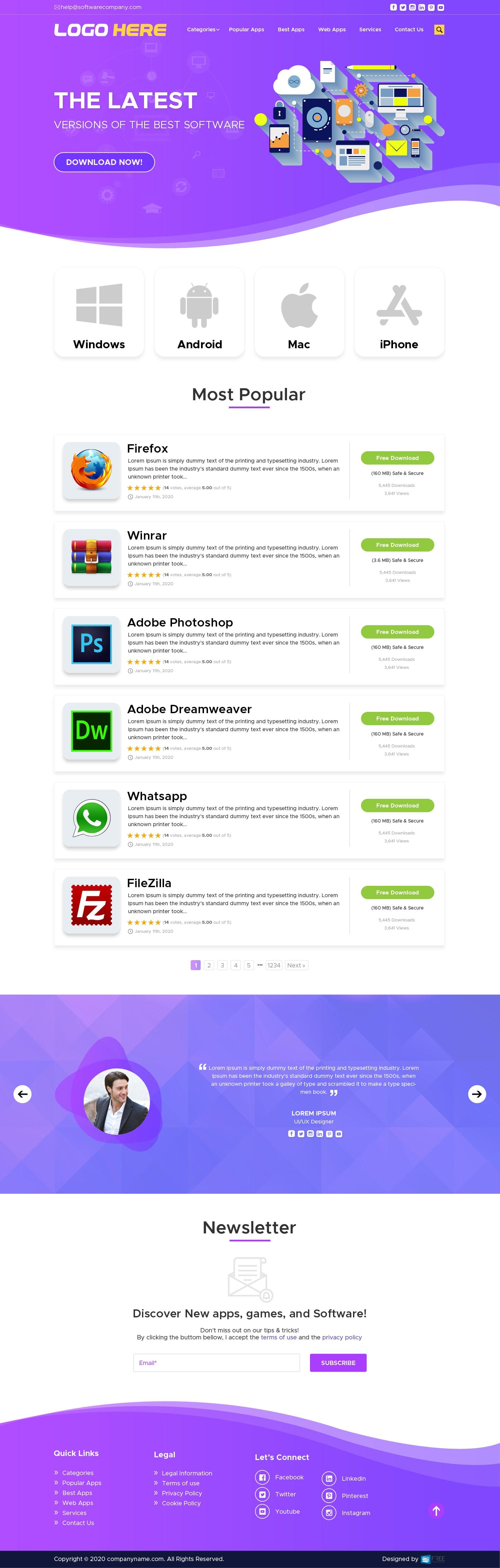 Free Software download website Landing Page