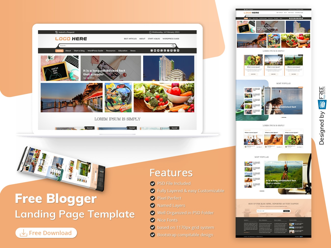 Free Blogger Landing Page Template