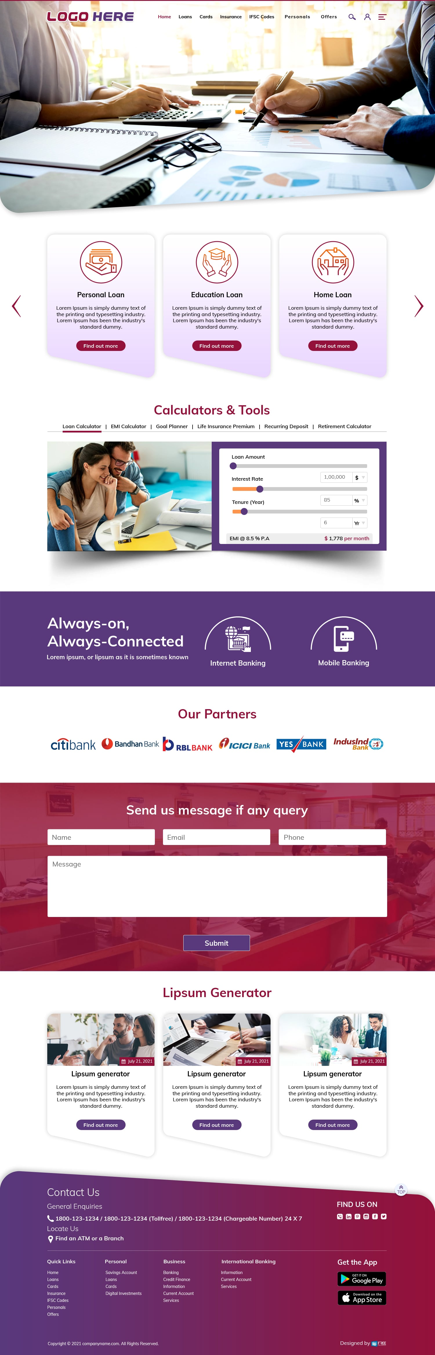 Free financial website template download